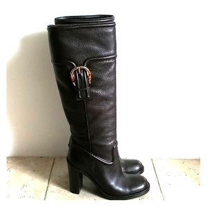 Gucci Leather High Heel Boots Dark Brown 37,5 size